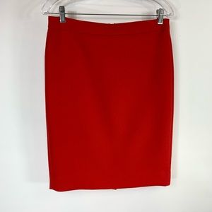 J Crew Red Wool Sz 6 No 2 Pencil Skirt